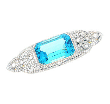 Art Deco Aquamarine And Diamond Brooch In Platinum