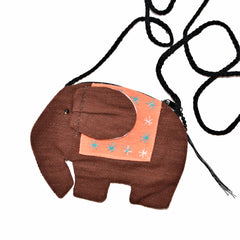 Elephant Shaped Mini Sling Bag (Brown & Peach)