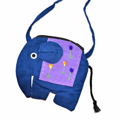 Elephant Shaped Mini Sling Bag - Large (Blue & Purple)