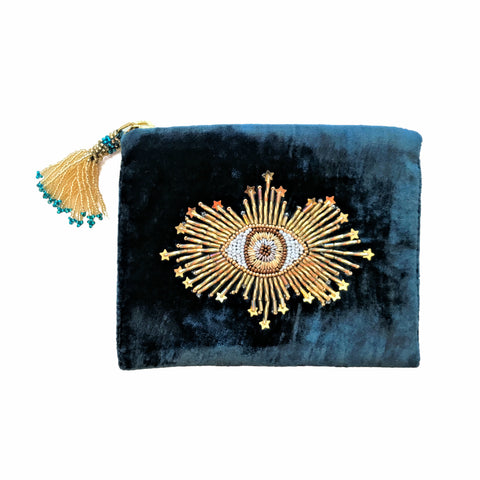 Velvet Mini Hand Pouch - Silver Blue with Emerald Eye