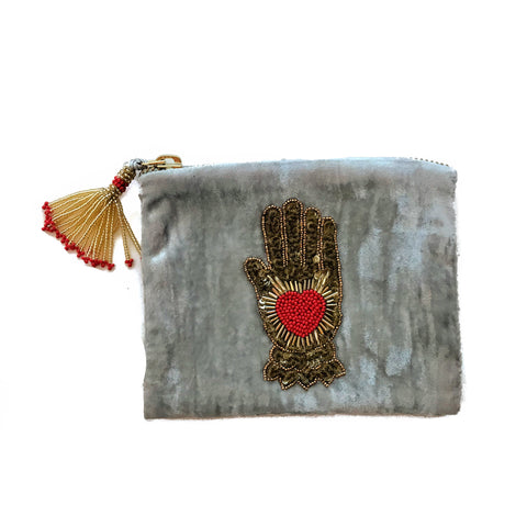 Velvet Mini Hand Pouch - Silver with Red Hand with Heart
