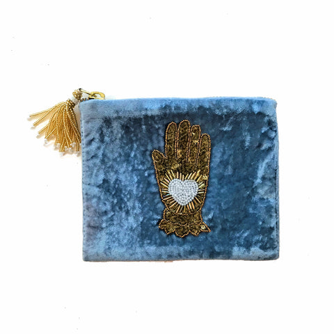 Velvet Mini Hand Pouch - Light Blue with White Hand with Heart