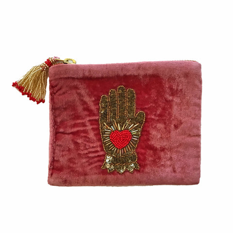 Velvet Mini Hand Pouch - Mauve with Red Hand with Heart