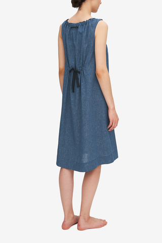 Sleeveless Nightie Navy Graph Check