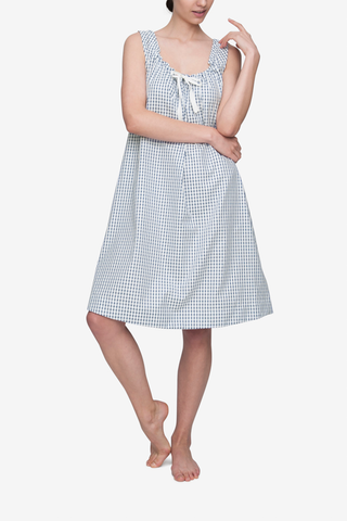 front view nightie nightgown dress adjustable neckline in navy shepherds check by the Sleep Shirt
