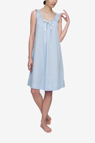 front view nightie nightgown dress adjustable neckline in soft blue stripe by the Sleep Shirt