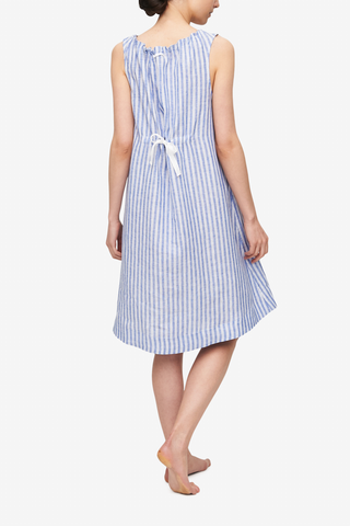 Sleeveless Nightie Blueberry Linen Stripe