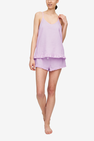 front view camisole tank top short with ruffle hem pajama set pink linen cotton blend by the Sleep Shirt