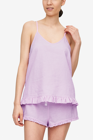 front view ruffled camisole top pink cotton linen blend by The Sleep Shirt