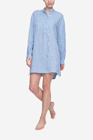 front view classic short sleep shirt double blue stripe linen by the Sleep Shirt