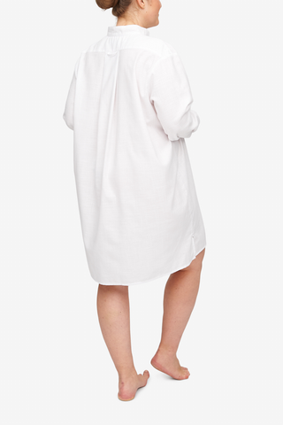 Short Sleep Shirt White Dobby PLUS