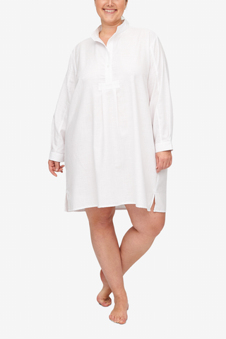 front view Plus size classic short sleep shirt white textured dobby cotton by the Sleep Shirt