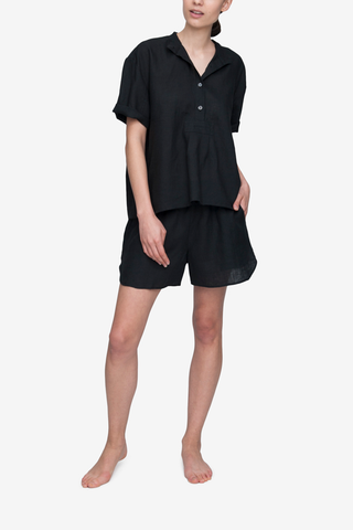 Curved Hem Short Black Linen