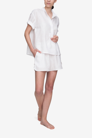 front view short sleeve t-shirt drawstring shorts pyjama set in white linen by The Sleep Shirt