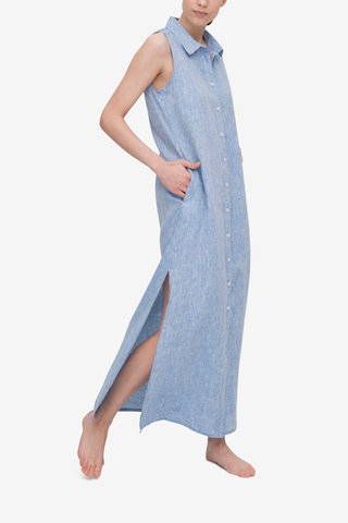 Long Sleeveless Sleep Shirt Blue Linen