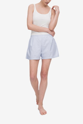 Pleat Short Blue Oxford Stripe