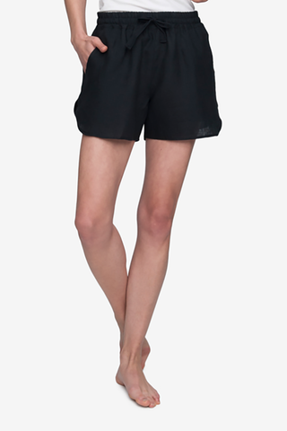 front view curved hem drawstring shorts black linen by the Sleep Shirt