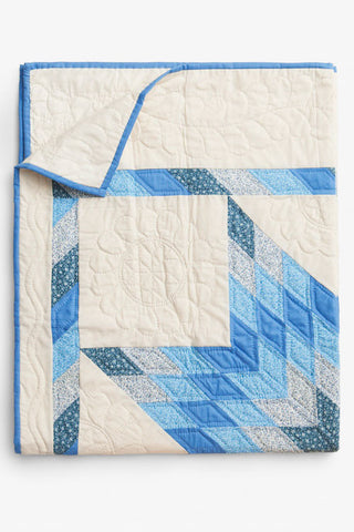 folded blue and cream star pattern amish wholecloth cotton blanket quilt handmade in USA by the Sleep Shirt