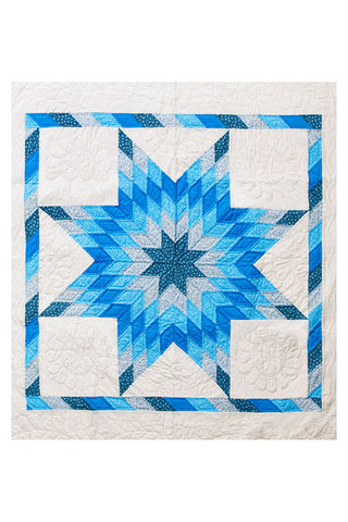 Amish Lone Star Blues Throw Quilt