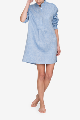 front view of classic short sleep shirt in blue linen by The Sleep Shirt