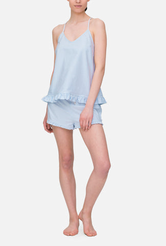 Ruffle Camisole Blue Oxford Stripe