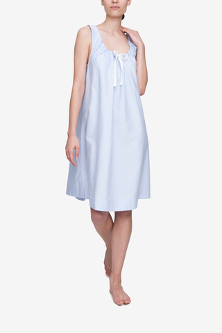 front view sleeveless adjustable neckline nightie nightgown blue oxford cotton with white dots by the Sleep Shirt