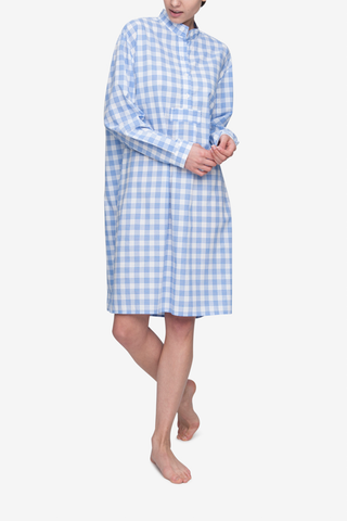 front view classic long sleep shirt blue open plaid cotton by the Sleep Shirt