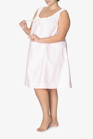 front view plus size sleeveless adjustable neckline nightie nightgown pink oxford stripe cotton by the Sleep Shirt