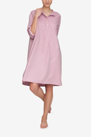 front view classic long sleep shirt dusty pink check cotton  by the Sleep Shirt