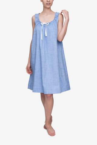 Front view of Blue Dobby cotton nightgown by The Sleep Shirt