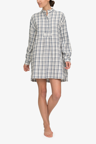 front view classic short sleep shirt Japanese cotton plaid by the Sleep Shirt