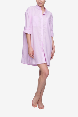 front view sleep shirt with placket pink cotton linen blend by The Sleep Shirt