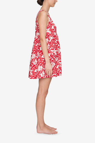 Pocket Nightie Red Tropical Print