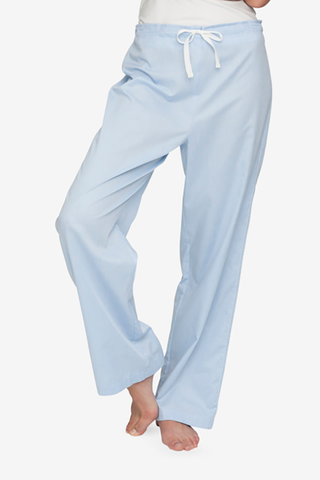 front view lounge pant soft blue stripe cotton by the Sleep Shirt