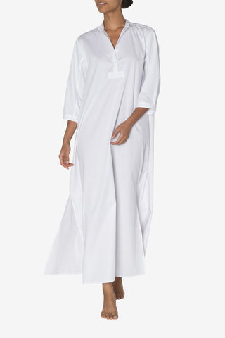 front view floor length sleep shirt white cotton stripe by the Sleep Shirt
