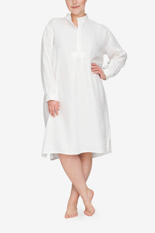 front view Plus size classic long sleep shirt white linen by the Sleep Shirt