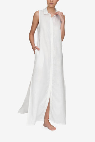 front view of the sleeveless full length white linen sleep shirt by The Sleep Shirt
