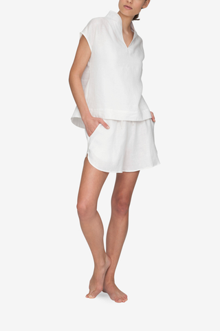 Curved Hem Short White Linen