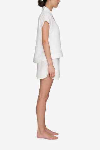 Set - Shawl Collar Top & Curved Hem Short White Linen