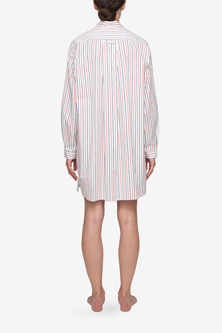 Short Sleep Shirt White Multi Stripe