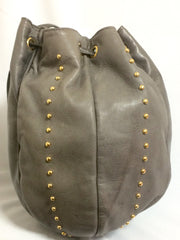 Vintage BALLY taupe gray lamb leather rugby ball shape hobo bucket shoulder bag with golden B charm. Unique design.