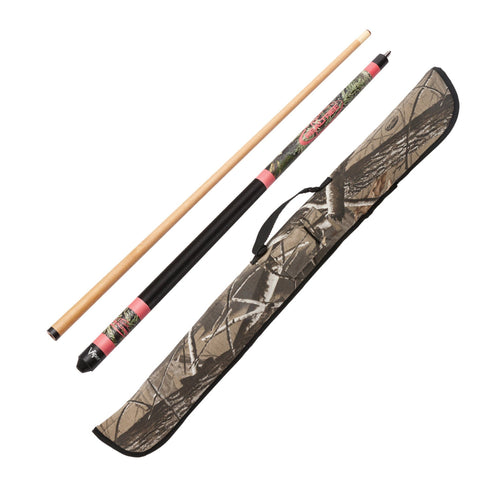 "1 Realtree Max 1 Pink Camo 19oz Hardwood 57"" 2pc Cue. 1 Realtree HD Hardwoods Padded Case With Accessories Pocket and Travel Handle."
