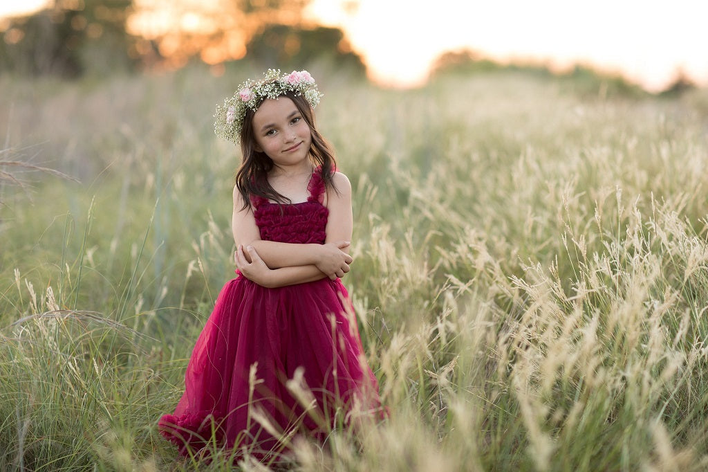 Straight out of camera image of young girl in a field
