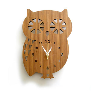 Natural Bamboo Owl Clock large numbers