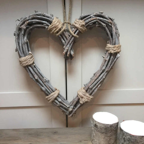 Willow Heart Tied with Rope Wreath Hanging Heart