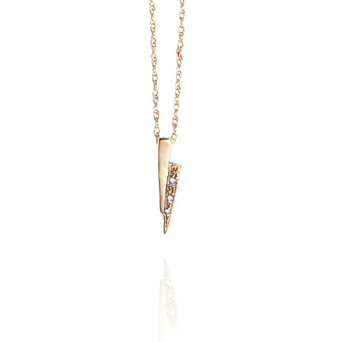 Gold on gold razor necklace with white diamonds