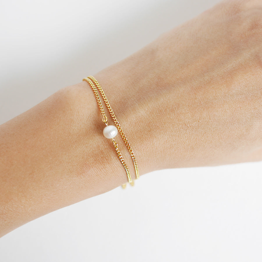 Gold Double Layer Pearl Bracelet