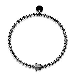 Tortuga | Onyx Steel | Crystal Sea Turtle Bracelet