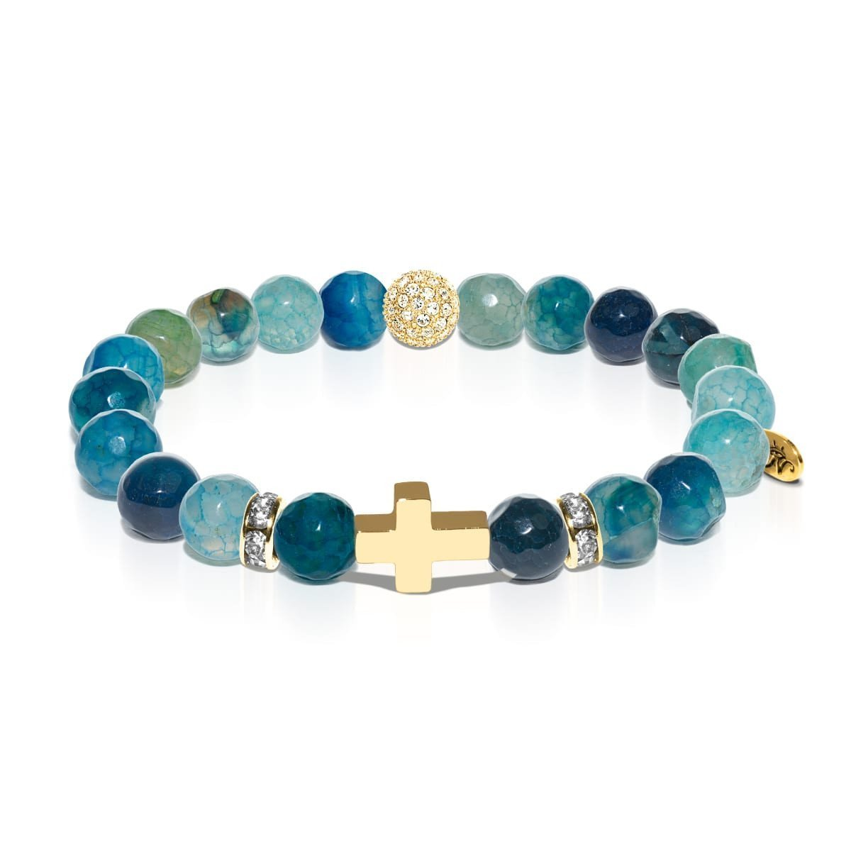 St. Brigid of Ireland | Gold Cross | Green Dragon Grain Agate Bracelet
