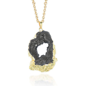 Midnight Black Crystal Druzy Necklace